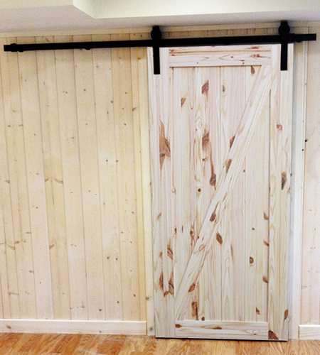 Rustic Knotty Pine interior barn doors